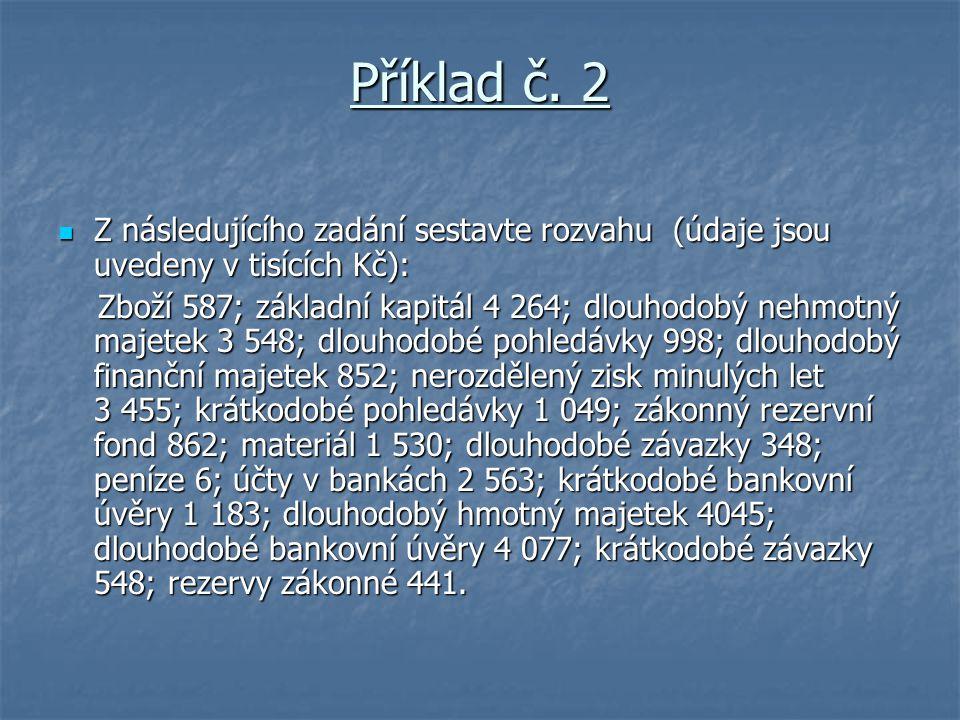 Příklad č. 2 Z následujícího zadání sestavte rozvahu (údaje jsou uvedeny v tisících Kč): Z následujícího zadání sestavte rozvahu (údaje jsou uvedeny v