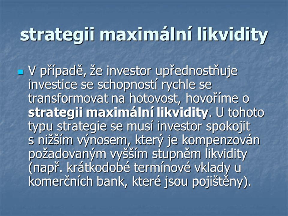 strategii maximální likvidity V případě, že investor upřednostňuje investice se schopností rychle se transformovat na hotovost, hovoříme o strategii m
