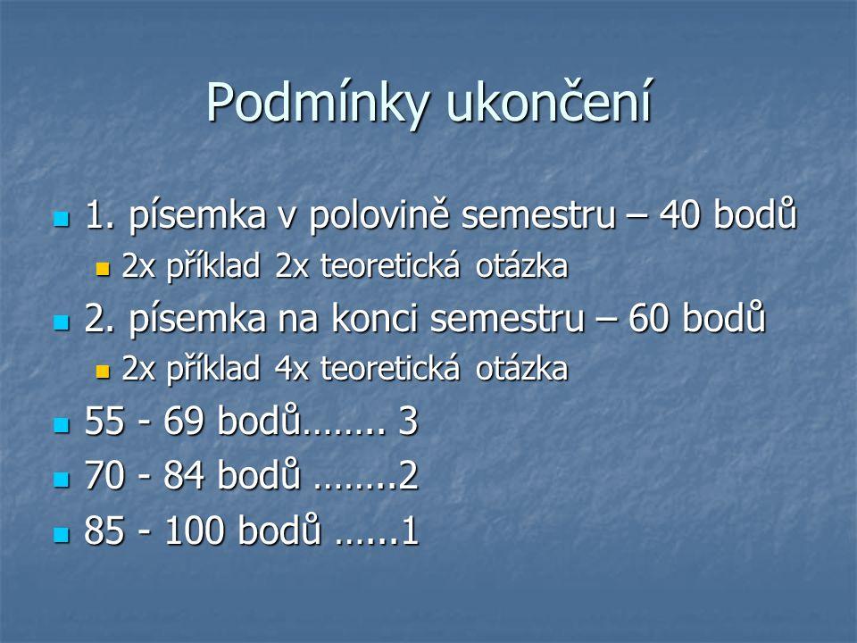 Podmínky ukončení 1. písemka v polovině semestru – 40 bodů 1. písemka v polovině semestru – 40 bodů 2x příklad 2x teoretická otázka 2x příklad 2x teor