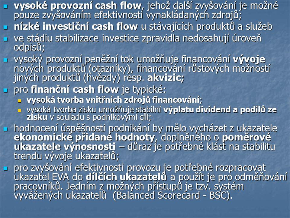 vysoké provozní cash flow, jehož další zvyšování je možné pouze zvyšováním efektivnosti vynakládaných zdrojů; vysoké provozní cash flow, jehož další z