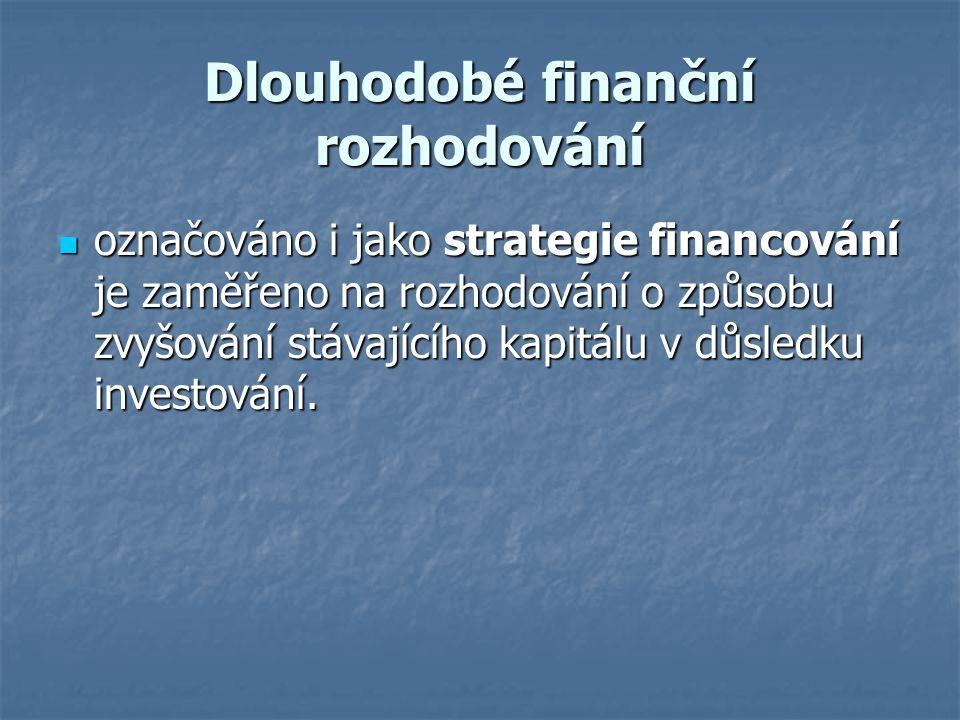 Dlouhodobé finanční rozhodování označováno i jako strategie financování je zaměřeno na rozhodování o způsobu zvyšování stávajícího kapitálu v důsledku