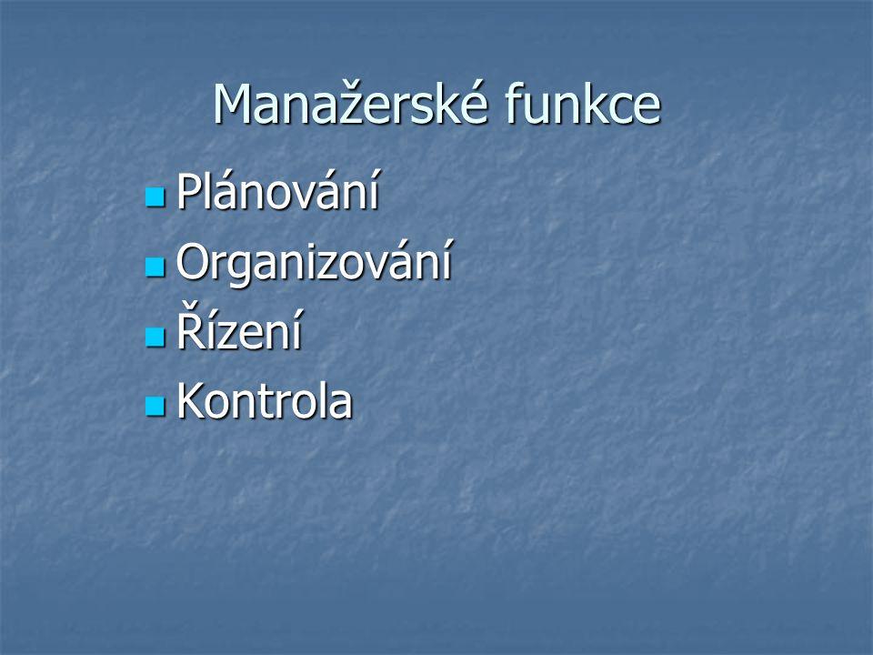 Manažerské funkce Plánování Plánování Organizování Organizování Řízení Řízení Kontrola Kontrola