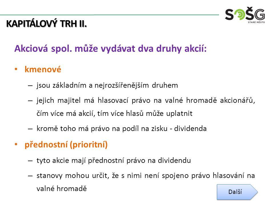 KAPITÁLOVÝ TRH II. Akciová spol.
