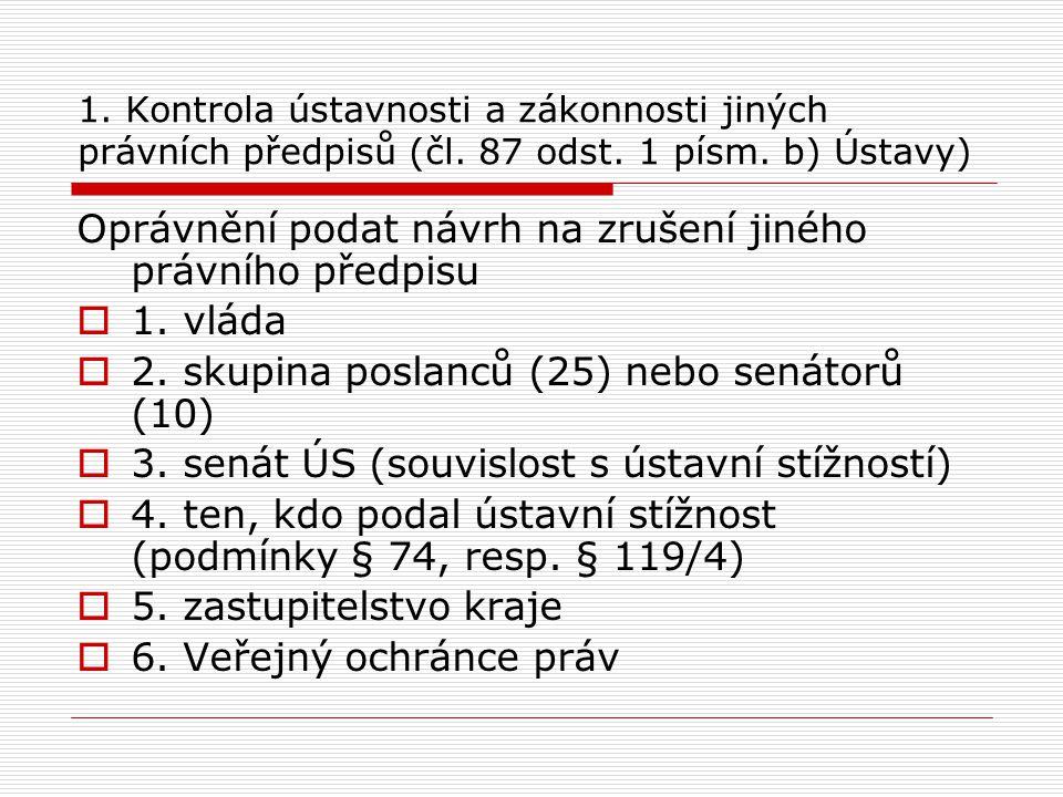 1. Kontrola ústavnosti a zákonnosti jiných právních předpisů (čl. 87 odst. 1 písm. b) Ústavy) Oprávnění podat návrh na zrušení jiného právního předpis