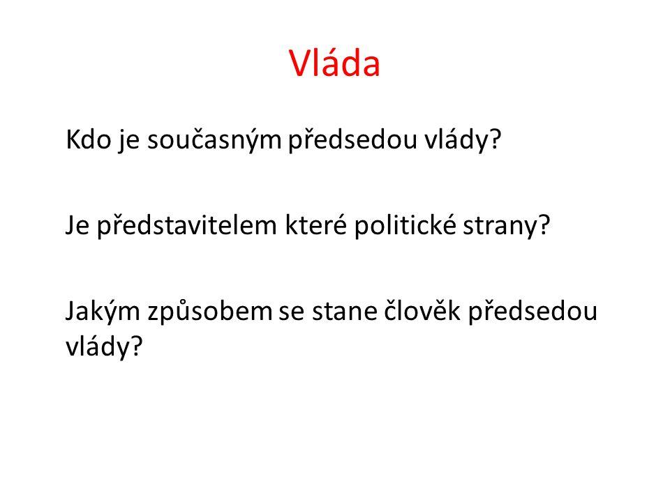 Vláda Kdo je současným předsedou vlády. Je představitelem které politické strany.