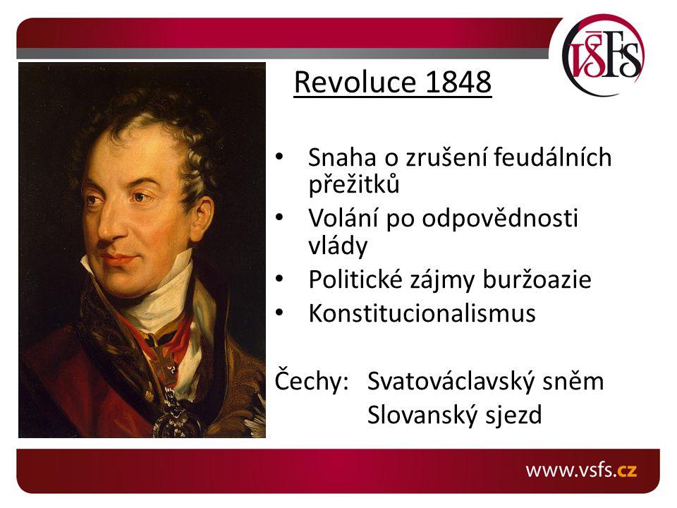 Revoluce 1848 Snaha o zrušení feudálních přežitků Volání po odpovědnosti vlády Politické zájmy buržoazie Konstitucionalismus Čechy:Svatováclavský sněm