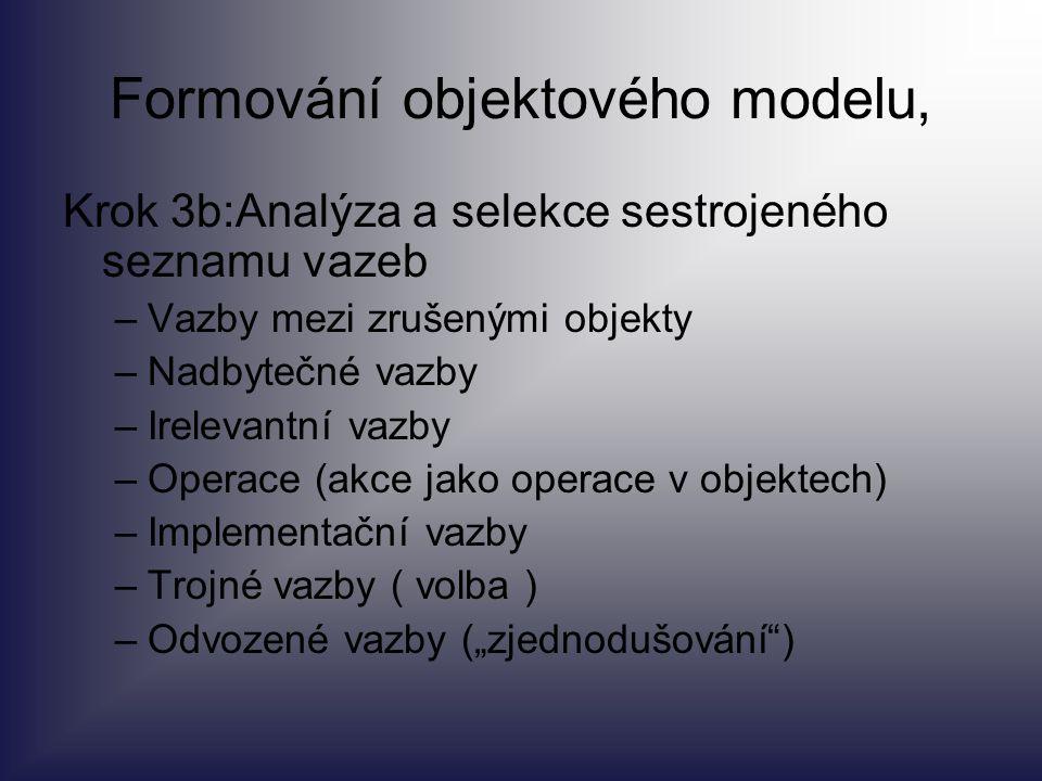 Formování objektového modelu, Krok 3b:Analýza a selekce sestrojeného seznamu vazeb –Vazby mezi zrušenými objekty –Nadbytečné vazby –Irelevantní vazby