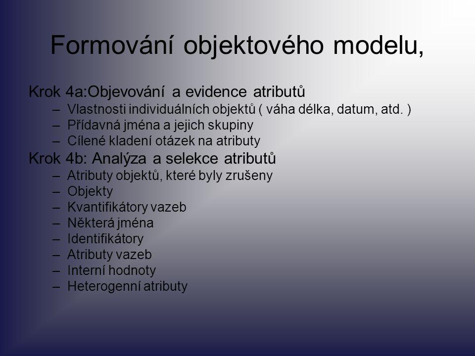 Formování objektového modelu, Krok 4a:Objevování a evidence atributů –Vlastnosti individuálních objektů ( váha délka, datum, atd. ) –Přídavná jména a