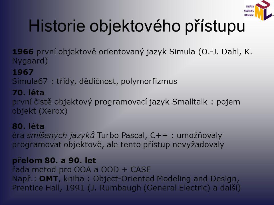 Historie objektového přístupu 1966 první objektově orientovaný jazyk Simula (O.-J. Dahl, K. Nygaard) 1967 Simula67 : třídy, dědičnost, polymorfizmus 7