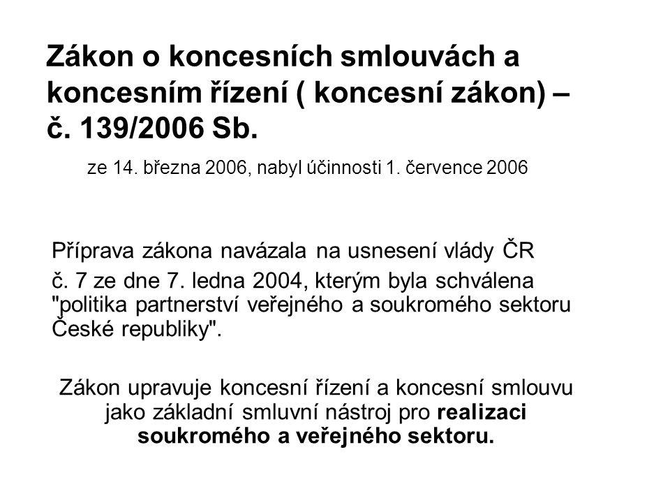 Zákon o koncesních smlouvách a koncesním řízení ( koncesní zákon) – č.