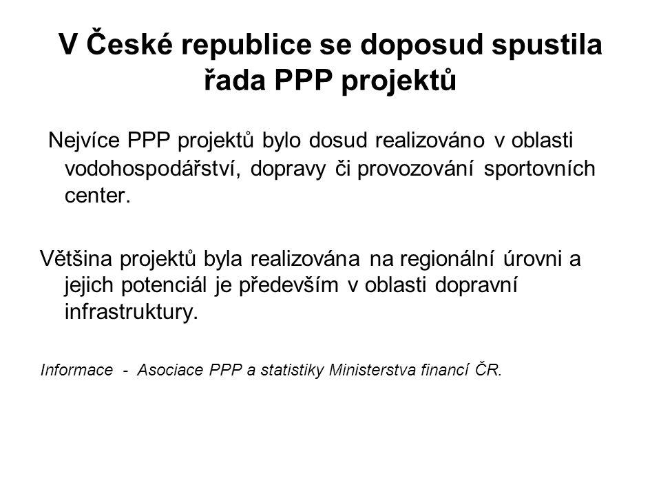 V České republice se doposud spustila řada PPP projektů Nejvíce PPP projektů bylo dosud realizováno v oblasti vodohospodářství, dopravy či provozování sportovních center.