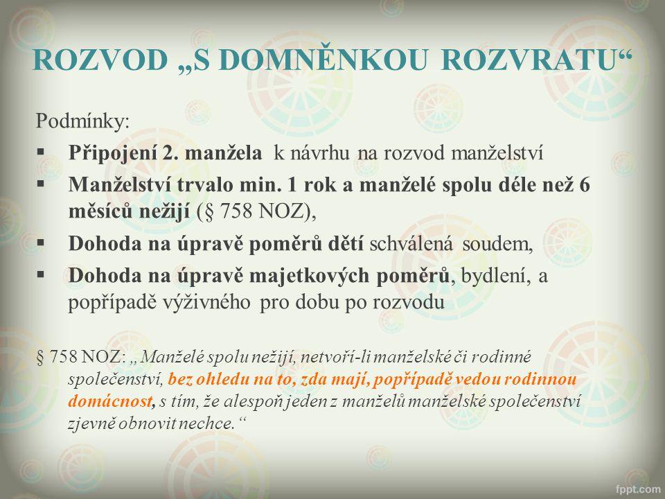 """ROZVOD """"S DOMNĚNKOU ROZVRATU Podmínky:  Připojení 2."""