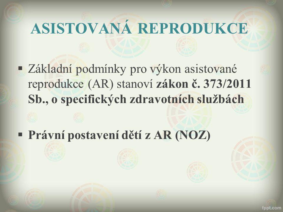 ASISTOVANÁ REPRODUKCE  Základní podmínky pro výkon asistované reprodukce (AR) stanoví zákon č.
