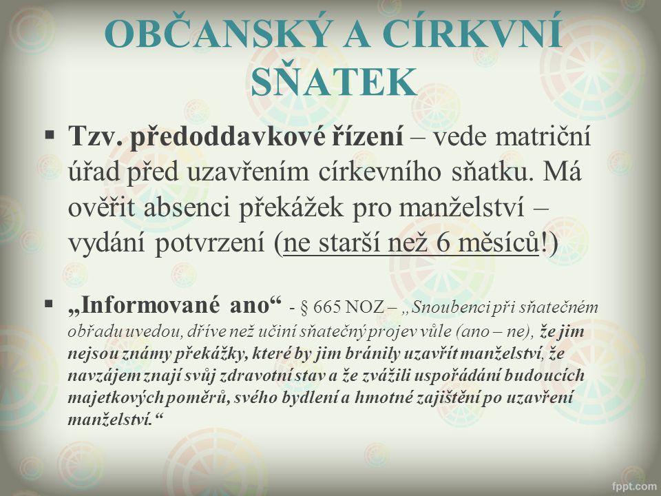 OBČANSKÝ A CÍRKVNÍ SŇATEK  Tzv.