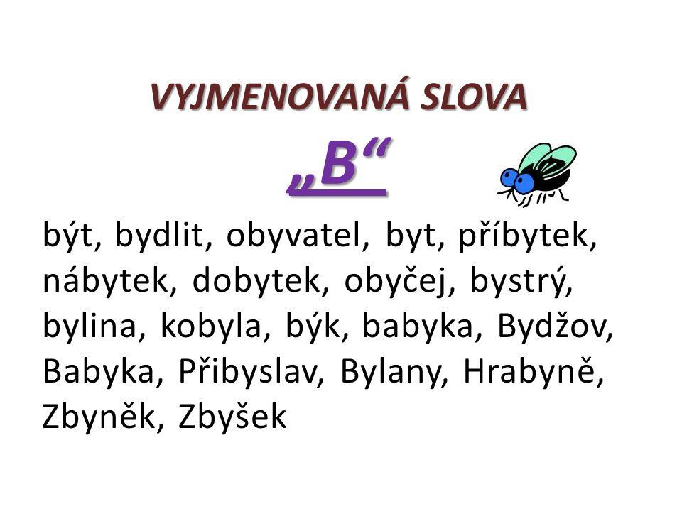 """VYJMENOVANÁ SLOVA """"B"""" být, bydlit, obyvatel, byt, příbytek, nábytek, dobytek, obyčej, bystrý, bylina, kobyla, býk, babyka, Bydžov, Babyka, Přibyslav,"""