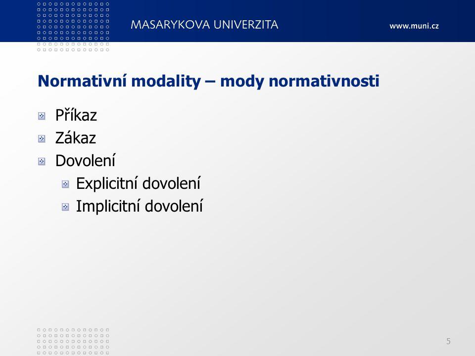 5 Normativní modality – mody normativnosti Příkaz Zákaz Dovolení Explicitní dovolení Implicitní dovolení
