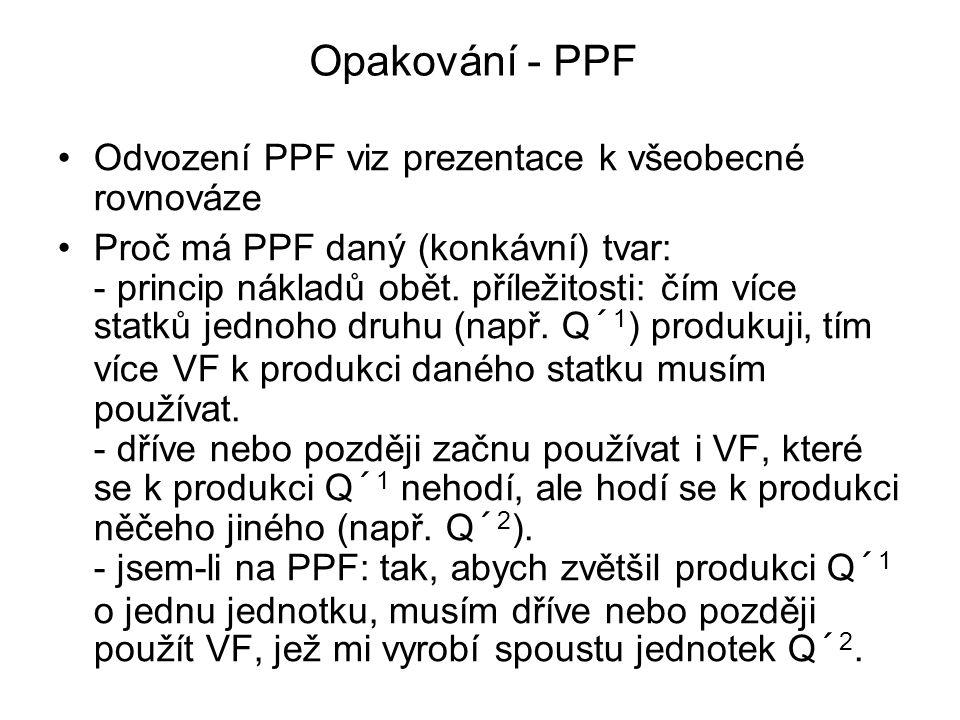 UPF (utility possibility frontier) Pokud lze PPF odvodit z krabicového diagramu rovnováhy ve výrobě Musí jít z krabicového diagramu rovnováhy ve spotřebě odvodit symetrická křivka (UPF) PPF – maximální možné kombinace dvou statků, které lze při daných VF vyrobit UPF - maximální možné kombinace užitků dvou spotřebitelů, kterých lze dosáhnout při dané zásobě statků.