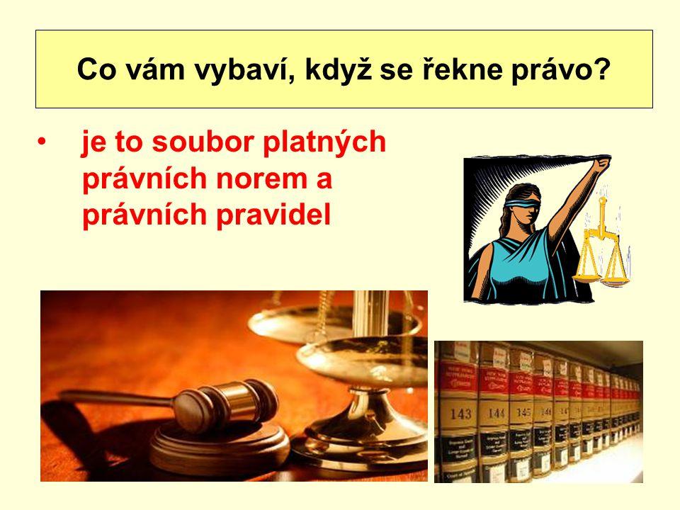 je to soubor platných právních norem a právních pravidel Co vám vybaví, když se řekne právo?