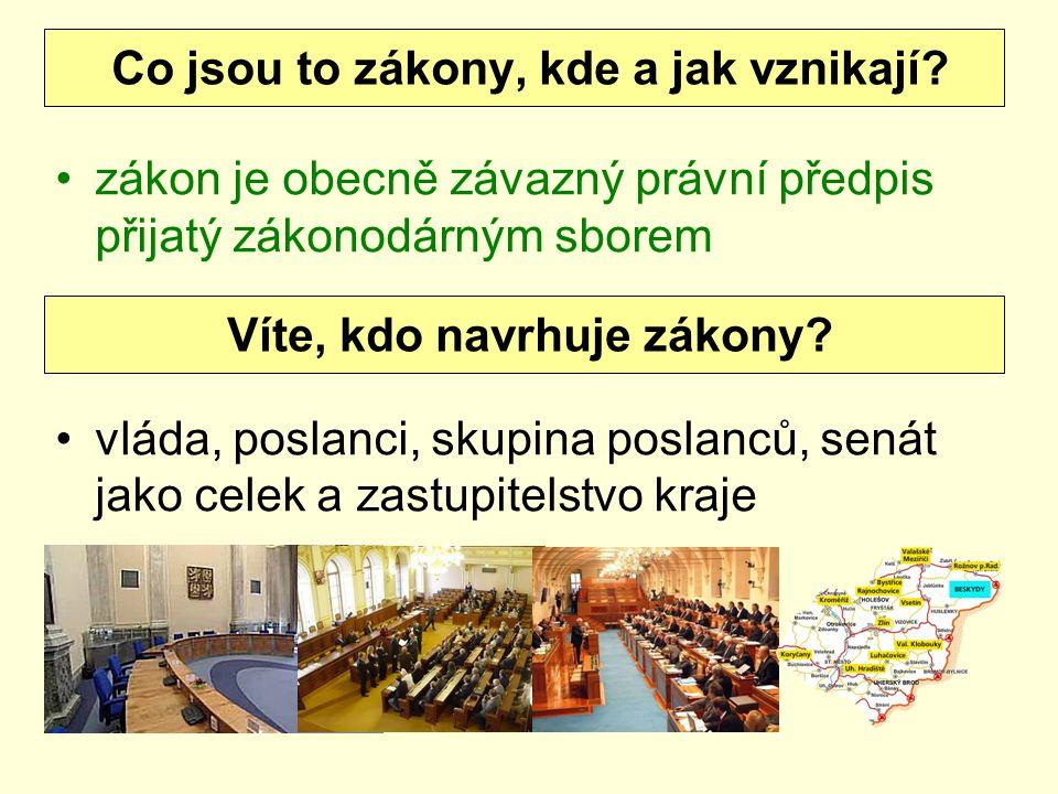 zákon je obecně závazný právní předpis přijatý zákonodárným sborem vláda, poslanci, skupina poslanců, senát jako celek a zastupitelstvo kraje Co jsou