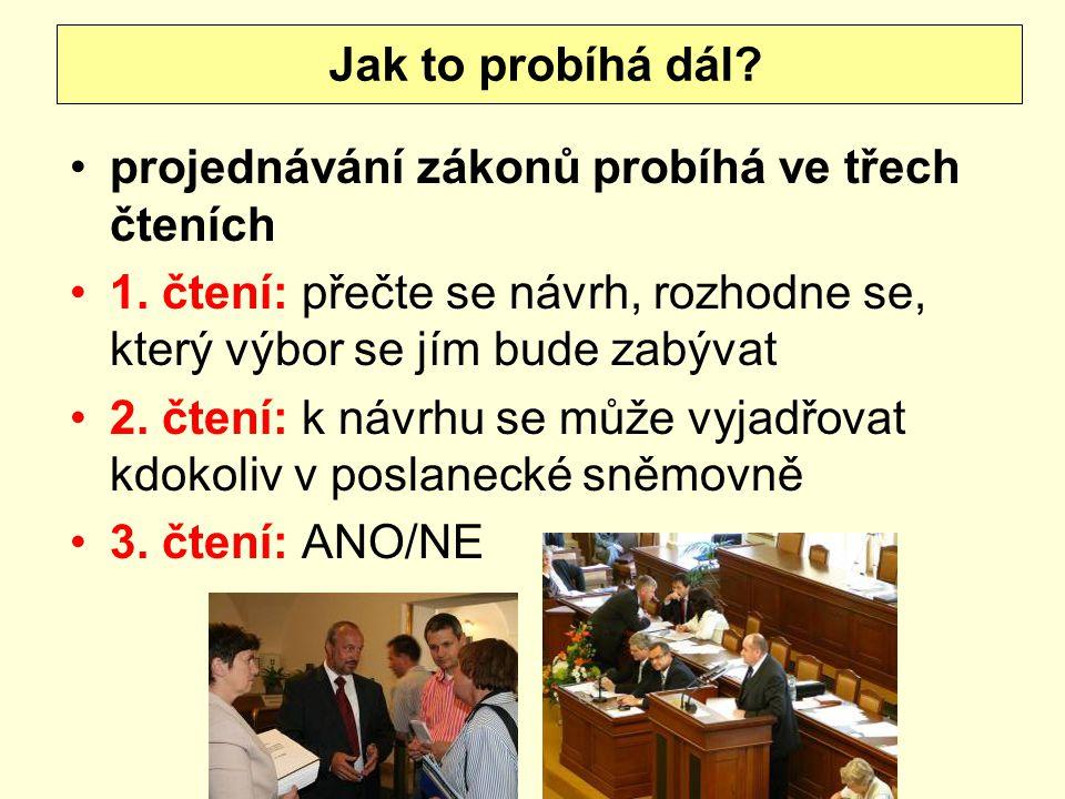 projednávání zákonů probíhá ve třech čteních 1. čtení: přečte se návrh, rozhodne se, který výbor se jím bude zabývat 2. čtení: k návrhu se může vyjadř