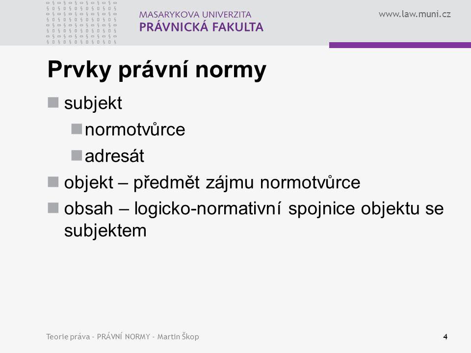 www.law.muni.cz Teorie práva - PRÁVNÍ NORMY - Martin Škop5 Normativní modality – mody normativnosti PŘÍKAZ DOVOLENÍ ZÁKAZ