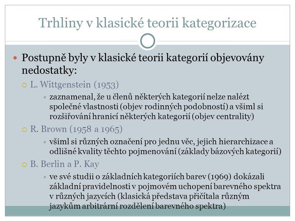 Trhliny v klasické teorii kategorizace Postupně byly v klasické teorii kategorií objevovány nedostatky:  L.