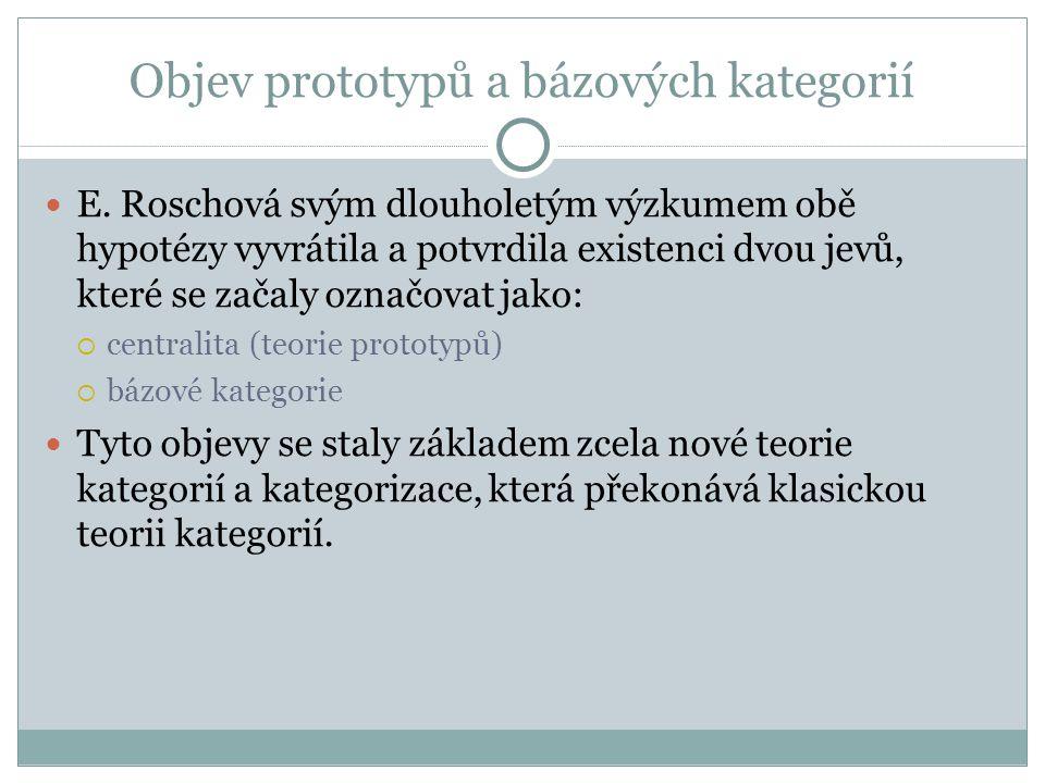 Objev prototypů a bázových kategorií E.