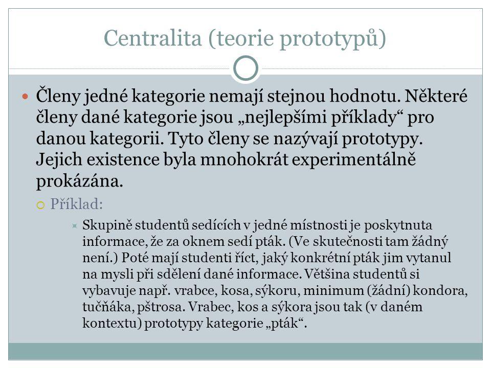 Centralita (teorie prototypů) Členy jedné kategorie nemají stejnou hodnotu.
