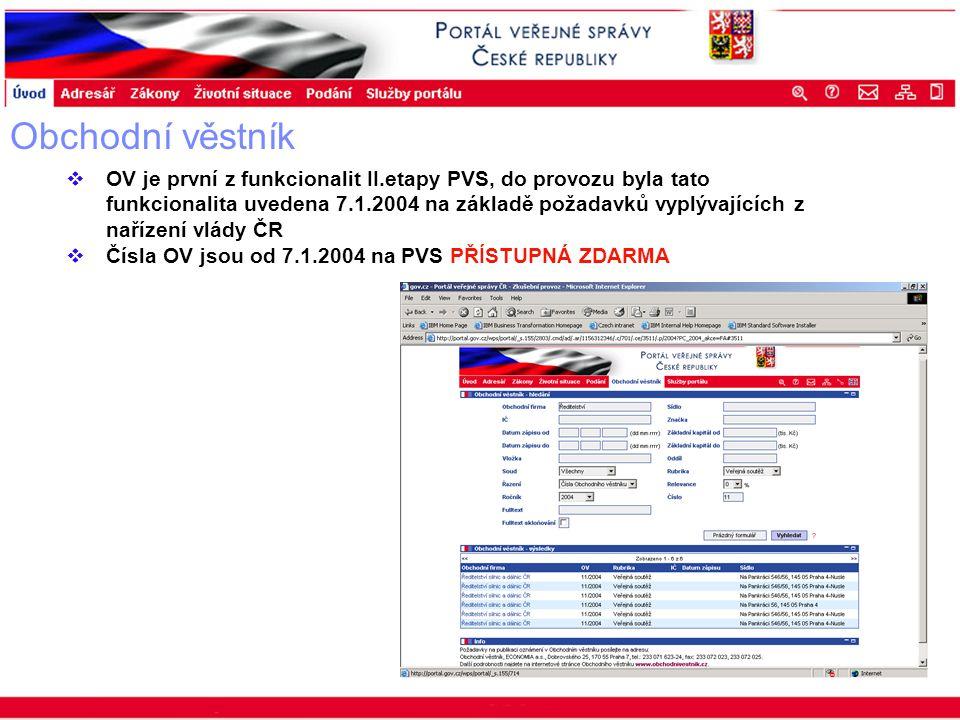 Portál veřejné správy © 2002 IBM Corporation ISSS 2003 Obchodní věstník  OV je první z funkcionalit II.etapy PVS, do provozu byla tato funkcionalita uvedena 7.1.2004 na základě požadavků vyplývajících z nařízení vlády ČR  Čísla OV jsou od 7.1.2004 na PVS PŘÍSTUPNÁ ZDARMA