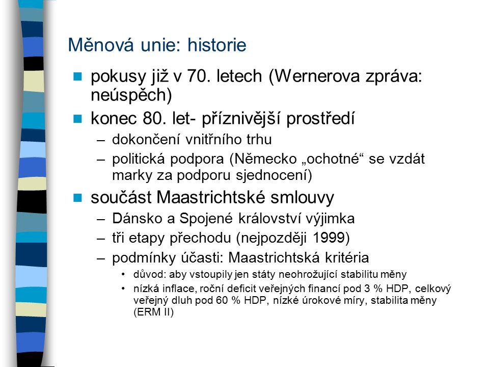 Měnová unie: historie pokusy již v 70. letech (Wernerova zpráva: neúspěch) konec 80.