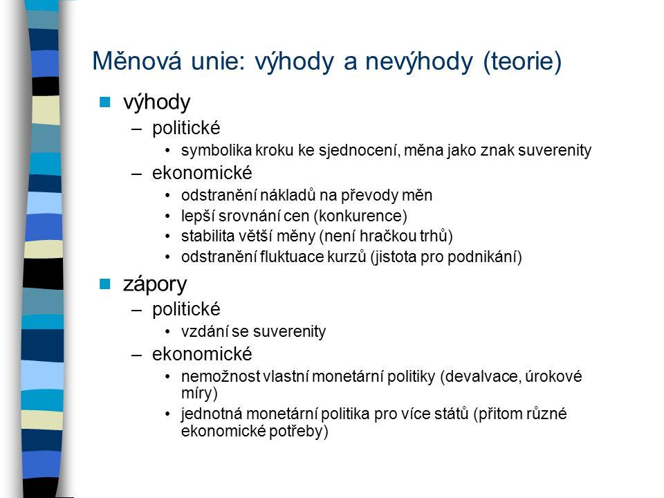 Měnová unie: výhody a nevýhody (teorie) výhody –politické symbolika kroku ke sjednocení, měna jako znak suverenity –ekonomické odstranění nákladů na převody měn lepší srovnání cen (konkurence) stabilita větší měny (není hračkou trhů) odstranění fluktuace kurzů (jistota pro podnikání) zápory –politické vzdání se suverenity –ekonomické nemožnost vlastní monetární politiky (devalvace, úrokové míry) jednotná monetární politika pro více států (přitom různé ekonomické potřeby)