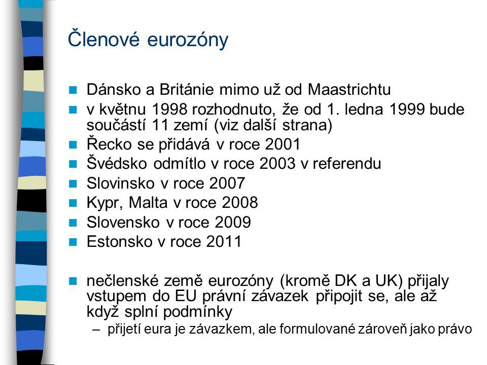 Členové eurozóny Dánsko a Británie mimo už od Maastrichtu v květnu 1998 rozhodnuto, že od 1.