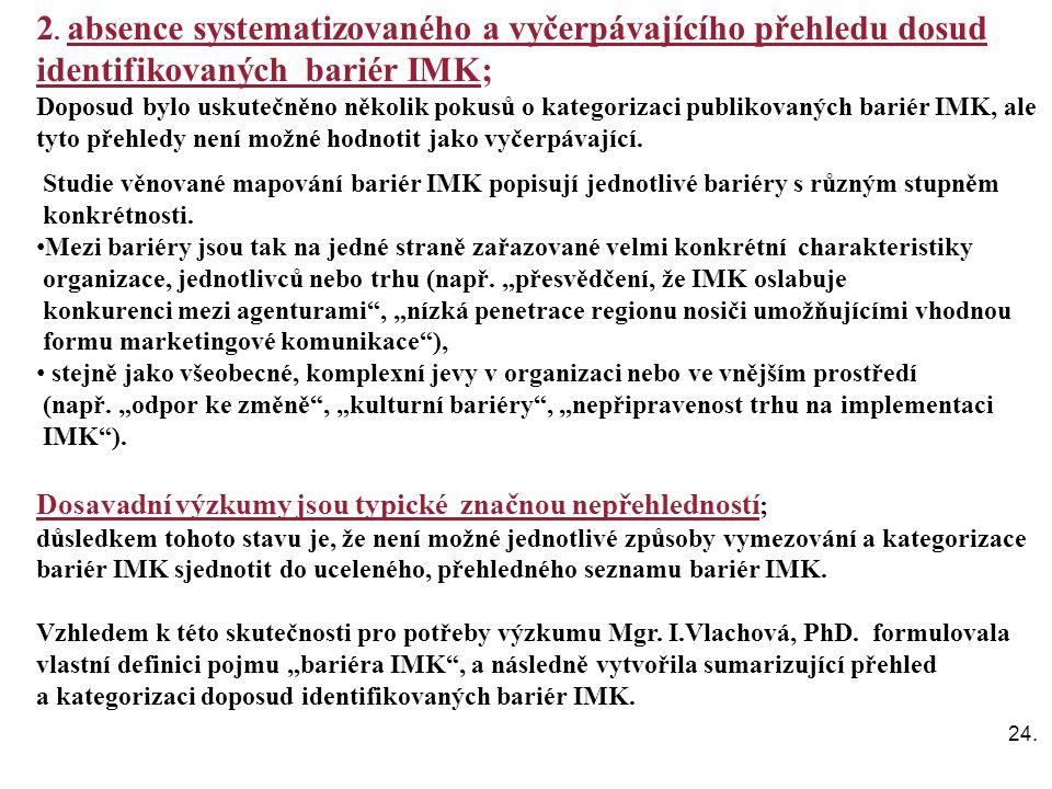 24. 2. absence systematizovaného a vyčerpávajícího přehledu dosud identifikovaných bariér IMK; Doposud bylo uskutečněno několik pokusů o kategorizaci