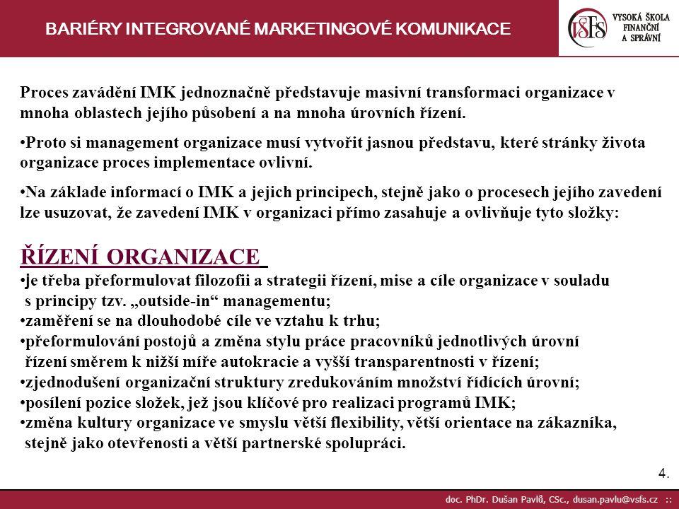 4.4. doc. PhDr. Dušan Pavlů, CSc., dusan.pavlu@vsfs.cz :: BARIÉRY INTEGROVANÉ MARKETINGOVÉ KOMUNIKACE Proces zavádění IMK jednoznačně představuje masi