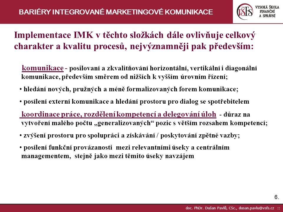 6.6. doc. PhDr. Dušan Pavlů, CSc., dusan.pavlu@vsfs.cz :: BARIÉRY INTEGROVANÉ MARKETINGOVÉ KOMUNIKACE Implementace IMK v těchto složkách dále ovlivňuj