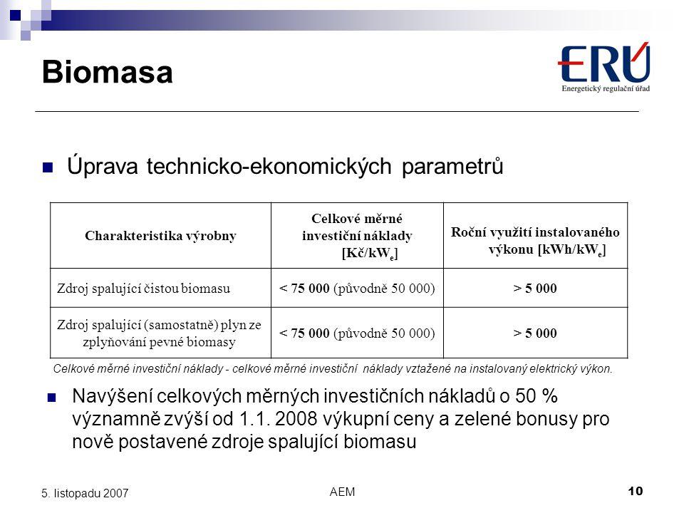 AEM10 5. listopadu 2007 Úprava technicko-ekonomických parametrů Charakteristika výrobny Celkové měrné investiční náklady [Kč/kW e ] Roční využití inst