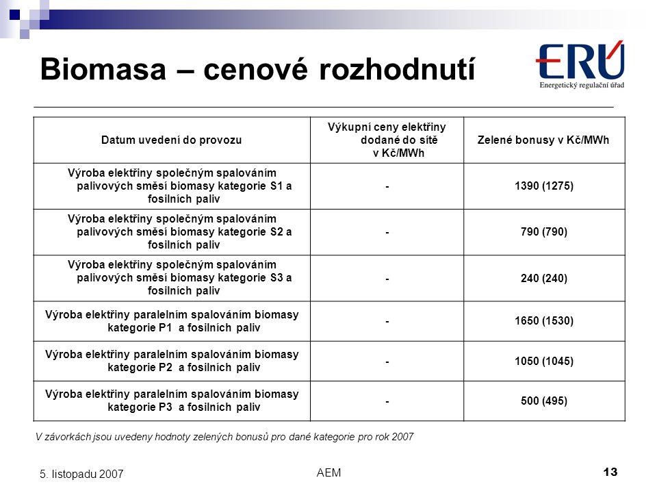 AEM13 5. listopadu 2007 Datum uvedení do provozu Výkupní ceny elektřiny dodané do sítě v Kč/MWh Zelené bonusy v Kč/MWh Výroba elektřiny společným spal