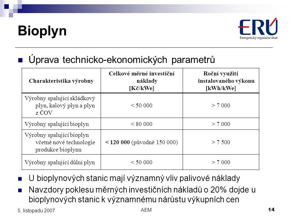 AEM14 5. listopadu 2007 Úprava technicko-ekonomických parametrů Charakteristika výrobny Celkové měrné investiční náklady [Kč/kWe] Roční využití instal