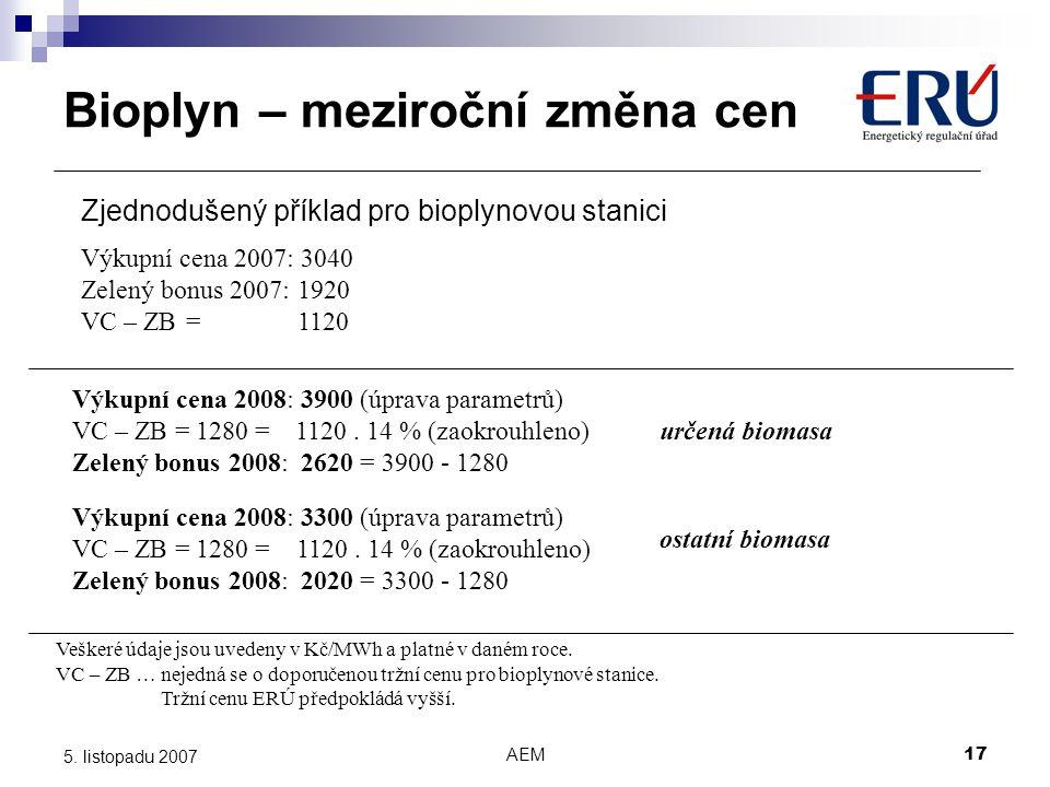 AEM17 5. listopadu 2007 Výkupní cena 2007: 3040 Zelený bonus 2007: 1920 VC – ZB = 1120 Veškeré údaje jsou uvedeny v Kč/MWh a platné v daném roce. Zjed