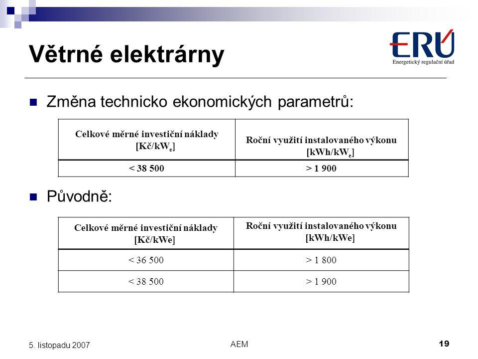 AEM19 5. listopadu 2007 Větrné elektrárny Změna technicko ekonomických parametrů: Původně: Celkové měrné investiční náklady [Kč/kW e ] Roční využití i