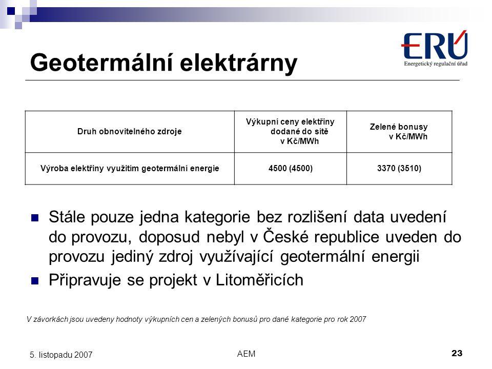 AEM23 5. listopadu 2007 Druh obnovitelného zdroje Výkupní ceny elektřiny dodané do sítě v Kč/MWh Zelené bonusy v Kč/MWh Výroba elektřiny využitím geot