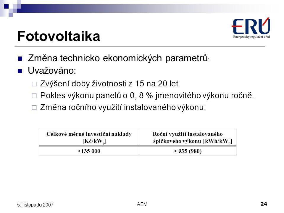 AEM24 5. listopadu 2007 Fotovoltaika Uvažováno:  Zvýšení doby životnosti z 15 na 20 let  Pokles výkonu panelů o 0, 8 % jmenovitého výkonu ročně.  Z