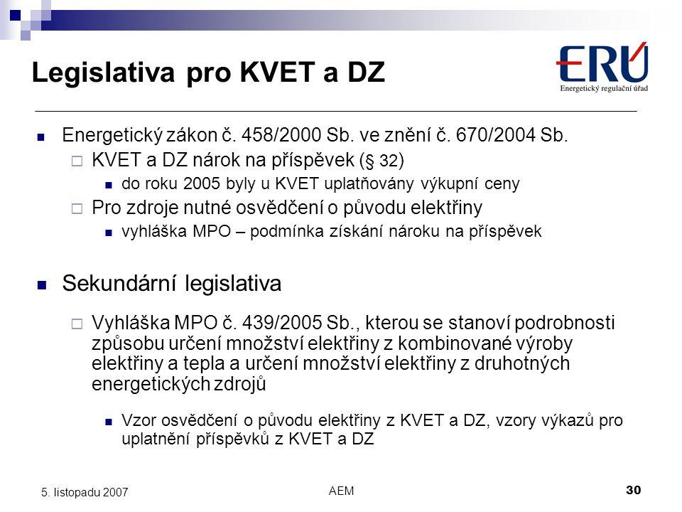 AEM30 5. listopadu 2007 Legislativa pro KVET a DZ Energetický zákon č. 458/2000 Sb. ve znění č. 670/2004 Sb.  KVET a DZ nárok na příspěvek ( § 32 ) d