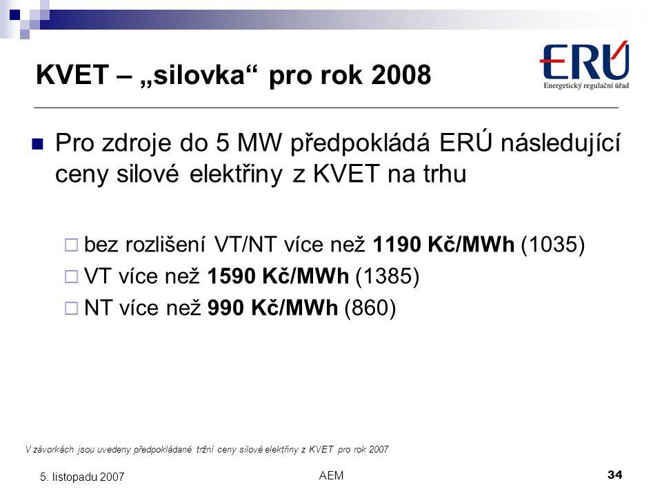 """AEM34 5. listopadu 2007 KVET – """"silovka"""" pro rok 2008 V závorkách jsou uvedeny předpokládané tržní ceny silové elektřiny z KVET pro rok 2007 Pro zdroj"""