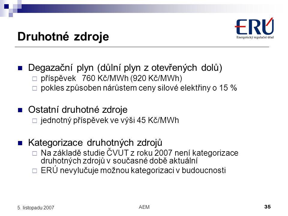 AEM35 5. listopadu 2007 Druhotné zdroje Degazační plyn (důlní plyn z otevřených dolů)  příspěvek 760 Kč/MWh (920 Kč/MWh)  pokles způsoben nárůstem c
