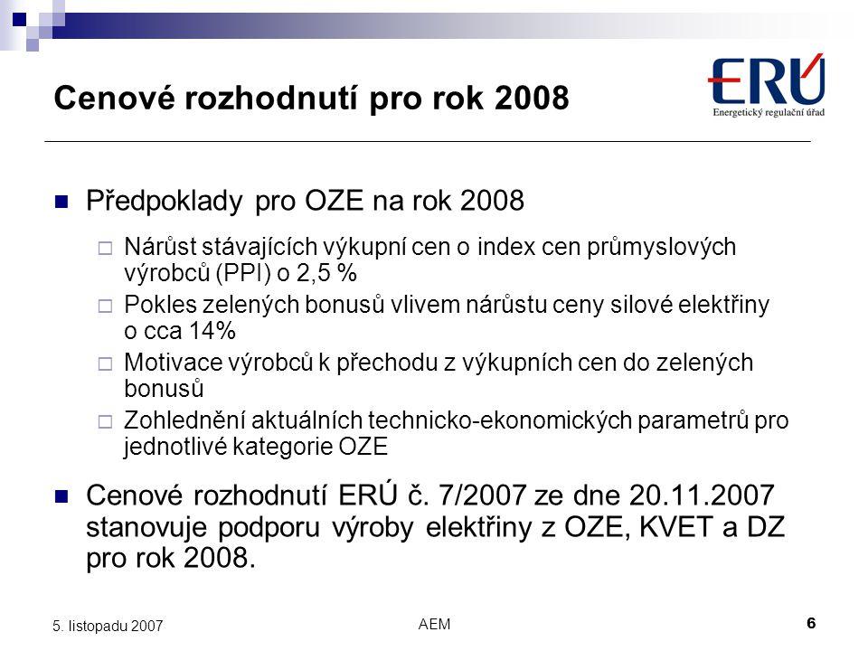 AEM6 5. listopadu 2007 Cenové rozhodnutí pro rok 2008 Předpoklady pro OZE na rok 2008  Nárůst stávajících výkupní cen o index cen průmyslových výrobc
