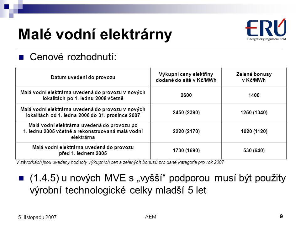AEM9 5. listopadu 2007 V závorkách jsou uvedeny hodnoty výkupních cen a zelených bonusů pro dané kategorie pro rok 2007 Datum uvedení do provozu Výkup