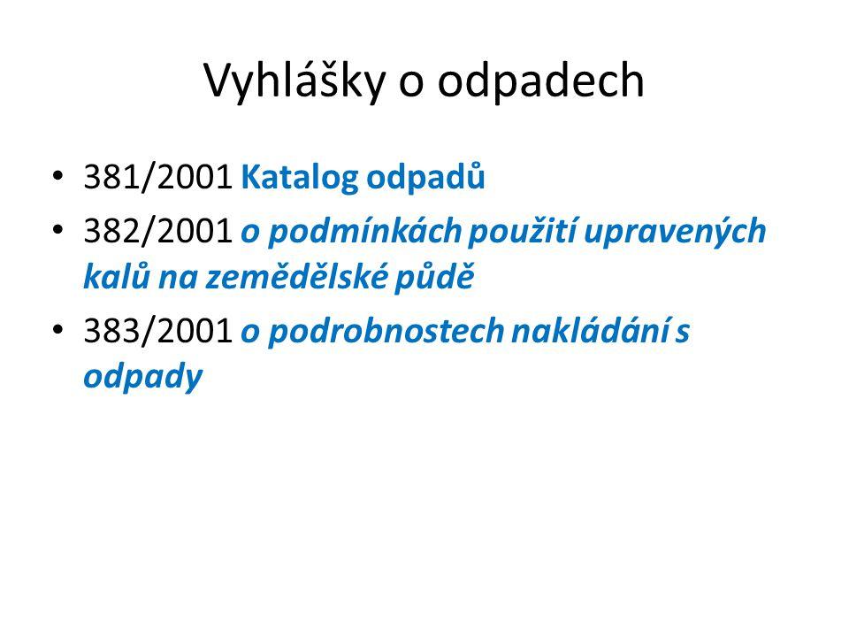Vyhlášky o odpadech 381/2001 Katalog odpadů 382/2001 o podmínkách použití upravených kalů na zemědělské půdě 383/2001 o podrobnostech nakládání s odpady
