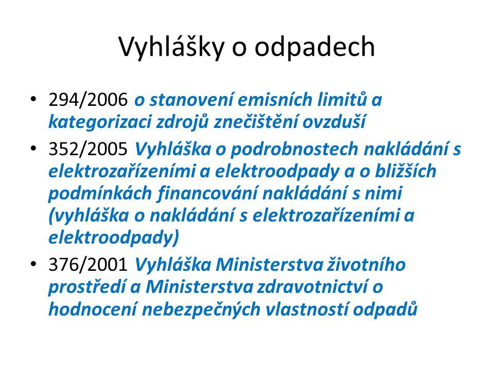 Vyhlášky o odpadech 294/2006 o stanovení emisních limitů a kategorizaci zdrojů znečištění ovzduší 352/2005 Vyhláška o podrobnostech nakládání s elektrozařízeními a elektroodpady a o bližších podmínkách financování nakládání s nimi (vyhláška o nakládání s elektrozařízeními a elektroodpady) 376/2001 Vyhláška Ministerstva životního prostředí a Ministerstva zdravotnictví o hodnocení nebezpečných vlastností odpadů