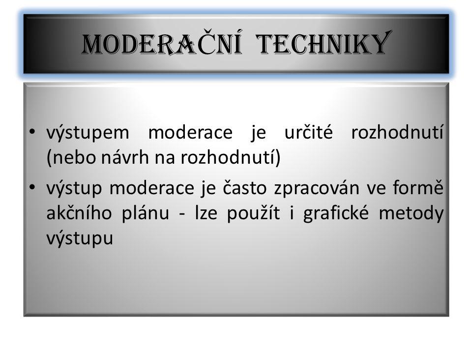 Výstupy moderace musí být SMART (chytré) S – specifické M – měřitelné A – akceptovatelné členy týmu R – realistické T – termínované MODERA Č NÍ TECHNIKY